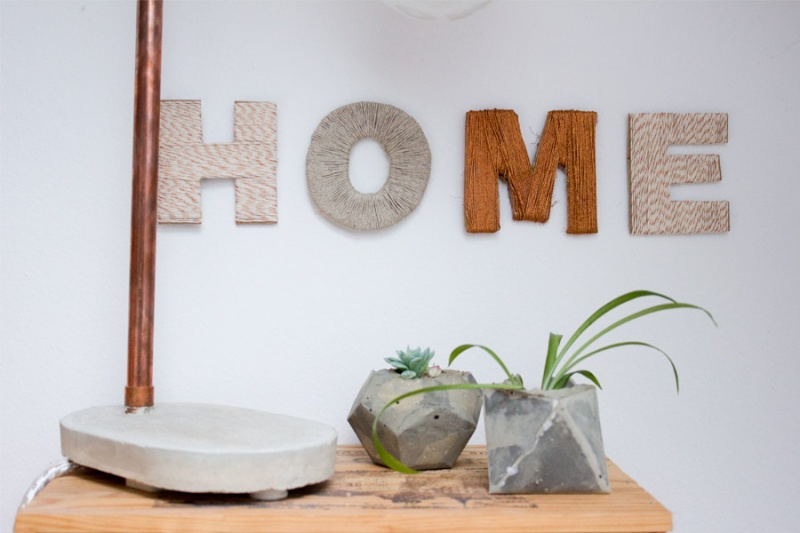 Picture of diy cardboard and thread letters for home decor 1 for Homemade home decoration items