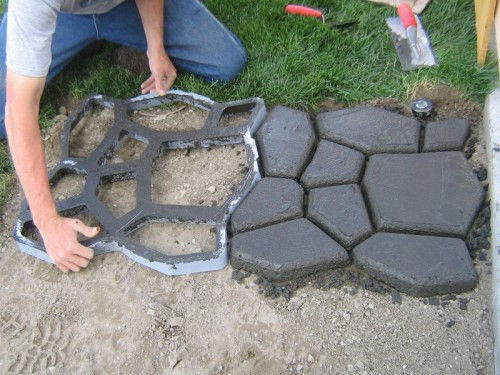 Diy Cement Cobble Path