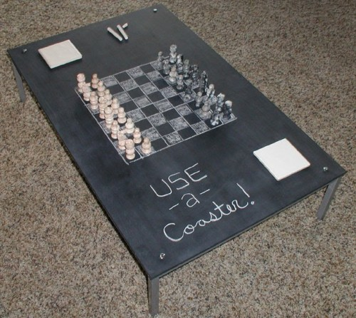 diy chalkboard coffee table you can play chess on