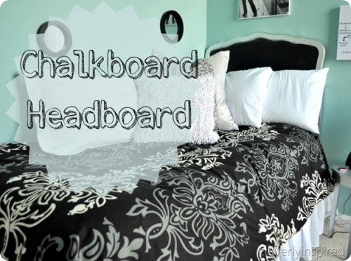 chalkboard headboard with a white frame (via cleverlyinspired)