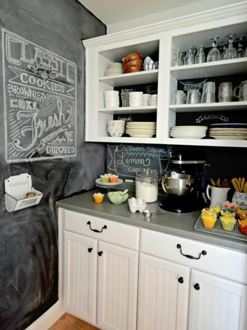 5 diy chalkboard kitchen backsplashes to make shelterness - Kitchen chalkboard paint ideas ...
