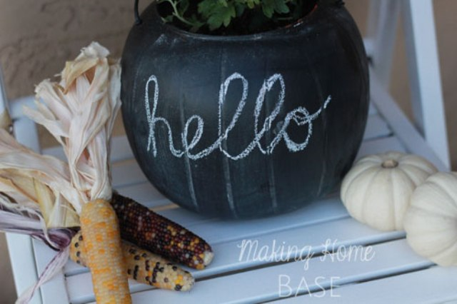 Diy Chalkboard Pumpkin Planter | Shelterness