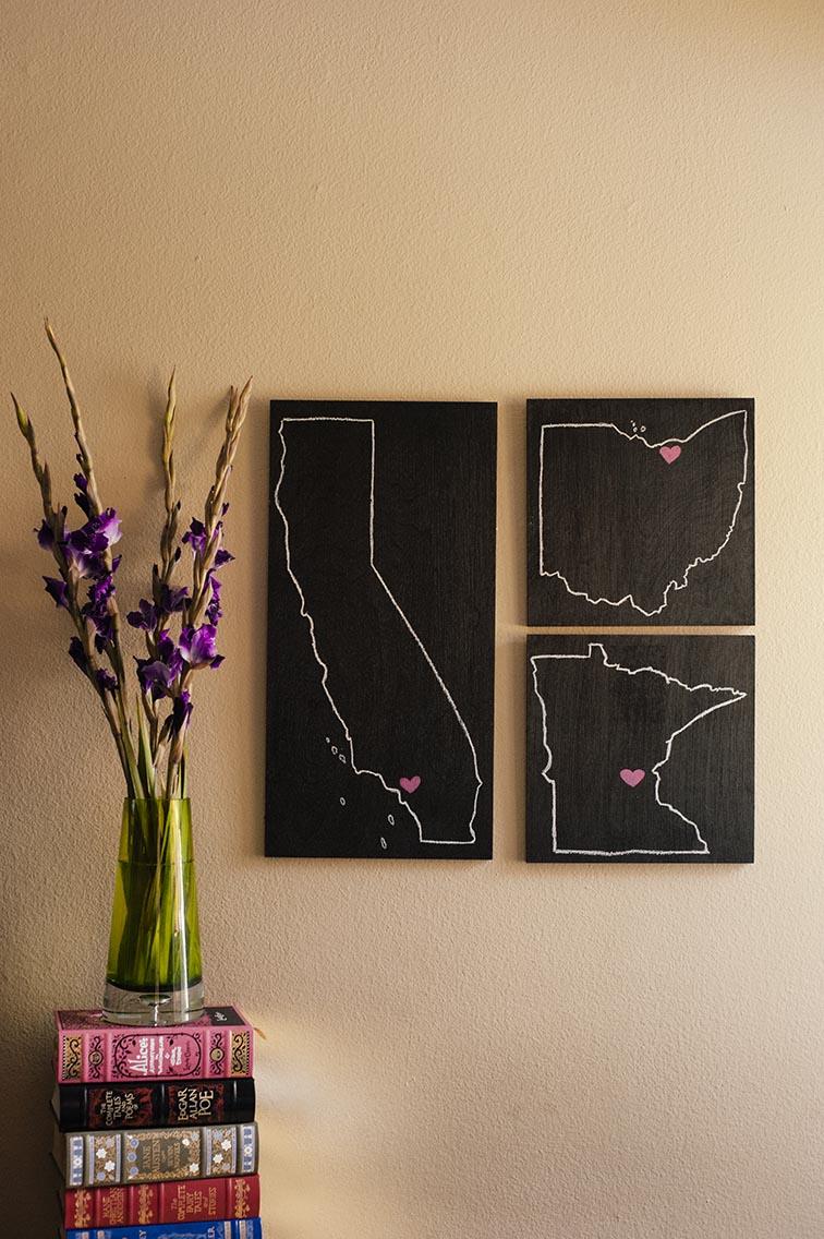Diy Wall Decor Chalkboard : Picture of diy chalkboard states wall art