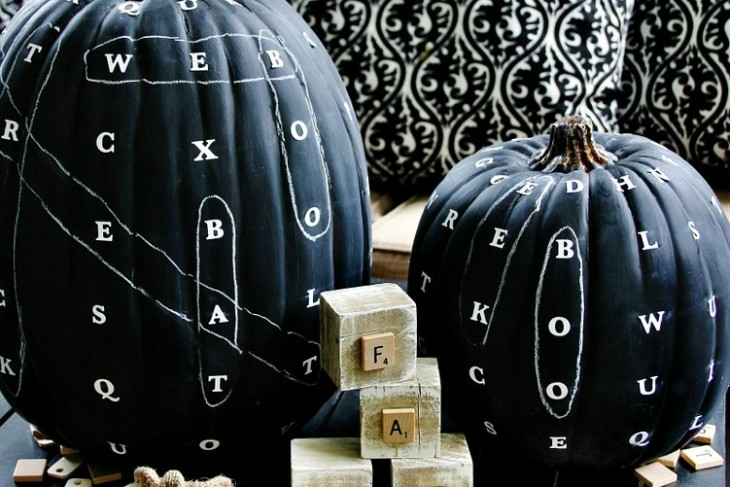 DIY Chalkboard Word Find Pumpkin | Shelterness