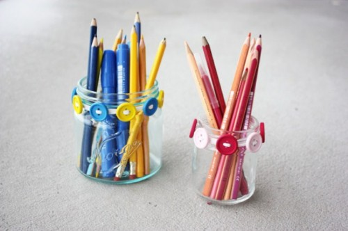 Diy Cheerful Button Pencil Holders