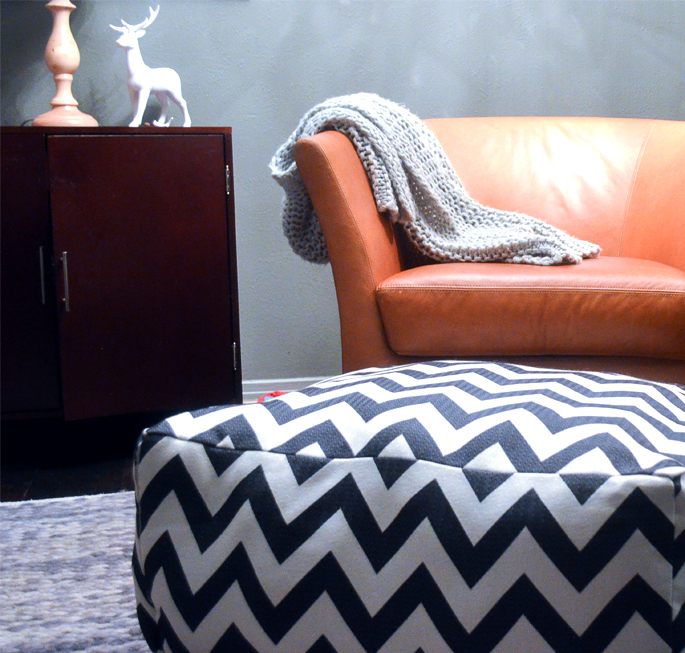 DIY Chevron Pouf And Dog Bed In One
