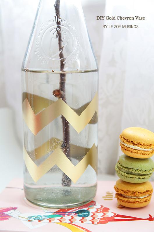 gold chevron vase