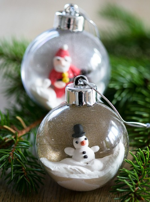 DIY Christmas Ornaments Of Plastic Baubles