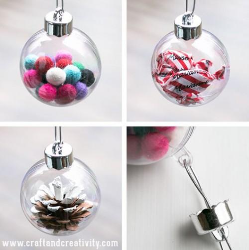 DIY Christmas Ornaments Of Plastic Baubles