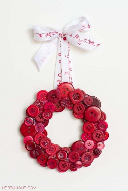 DIY Christmas Red Button Wreath