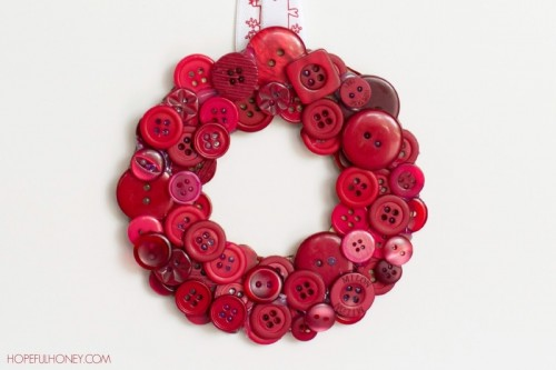 DIY Christmas Red Button Wreath