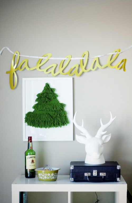 DIY Woven Christmas Tree Wall Hanging