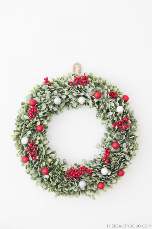 DIY Christmas Wreath With Holly And Small Ornaments