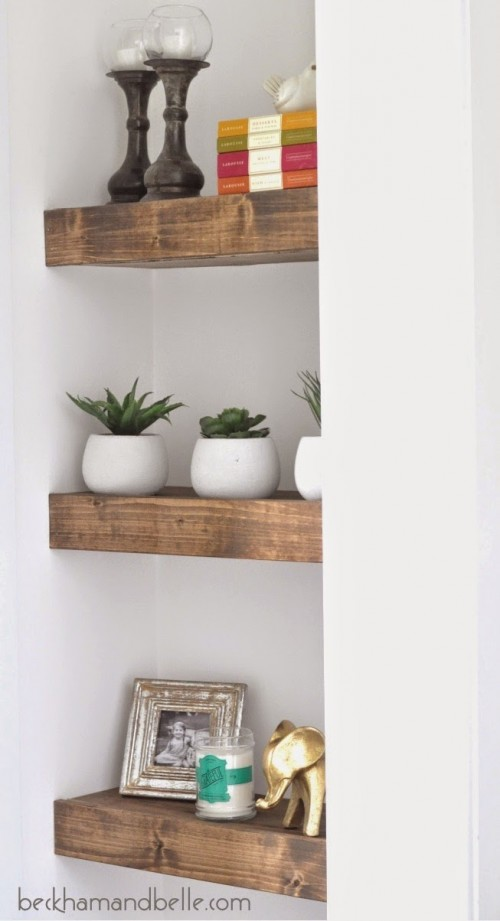 Diy Chunky Stained Wooden Shelves Shelterness