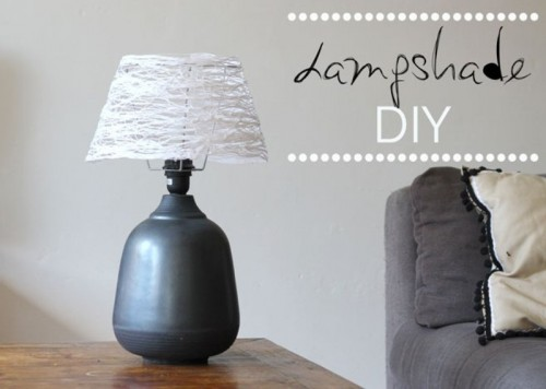 DIY CloudLike Yarn Lampshade Shelterness - Diy cloud like yarn lampshade