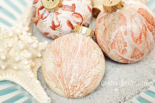 DIY Coastal Mod Podge Christmas Ornaments