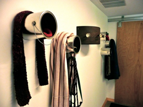 space saving wall hooks (via shelterness)