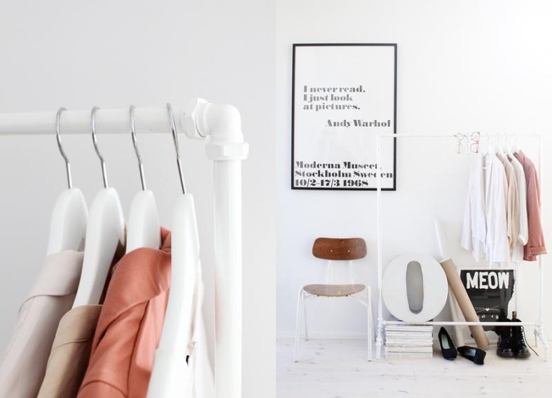 white industrial coat rack