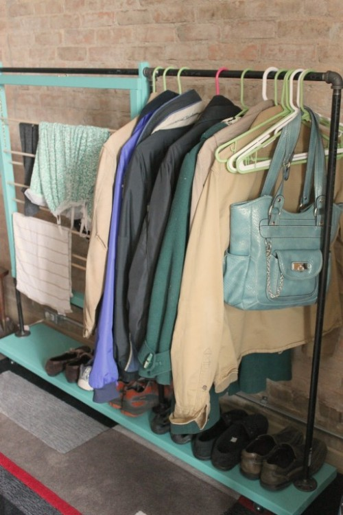 industrial coat rack with a frame (via shelterness)