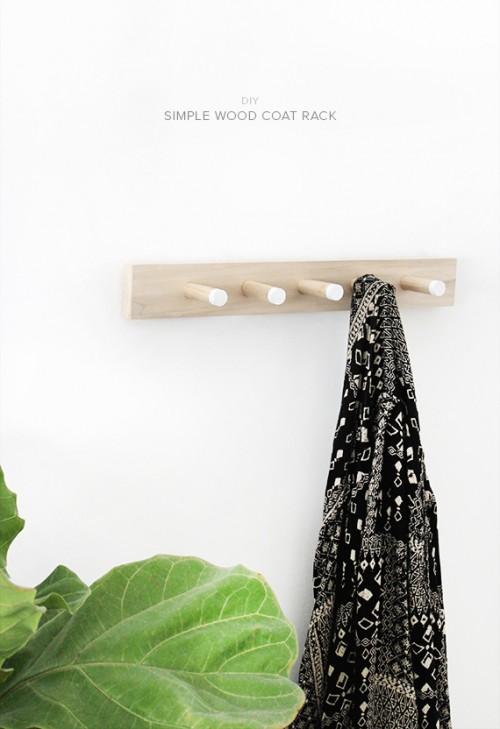 simple wood coat rack (via almostmakesperfect)