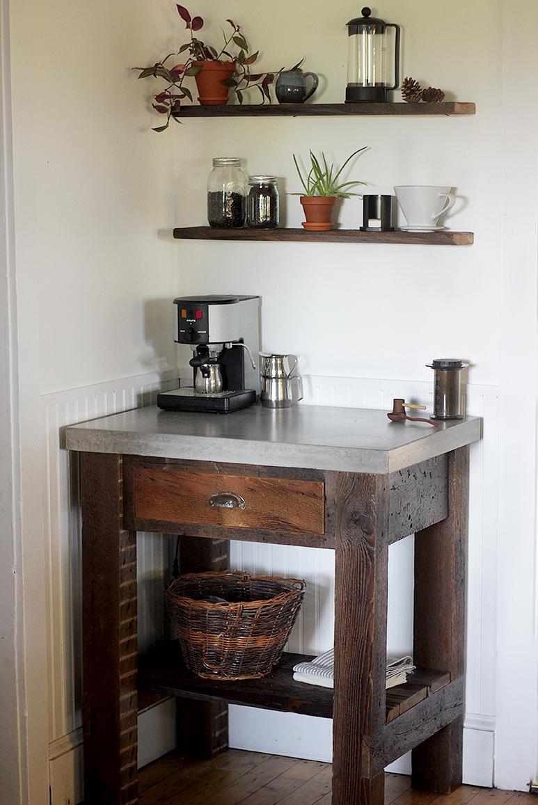 concrete top coffee bar