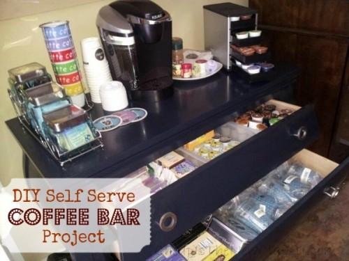 smart organized coffee bar (via cheapisthenewclassy)