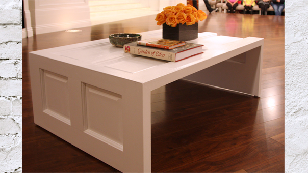Picture of diy coffee table made of a door for Old door into coffee table
