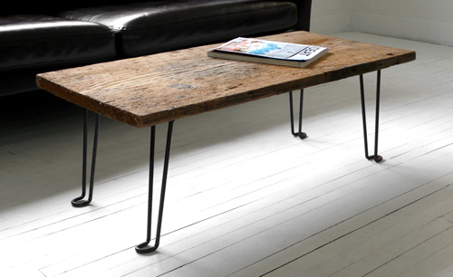 diy coffee table of a wood plank and hairpin metal legs - shelterness