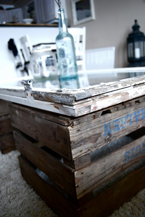 Diy Coffee Table Of Window And Two Crates