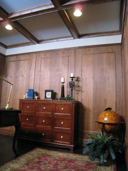 retro inspired coffered ceiling