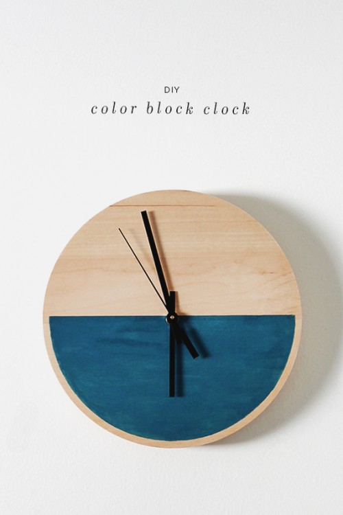Diy Color Block Clock Of Wood