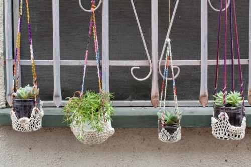 DIY Colorful Hanging Window Planters