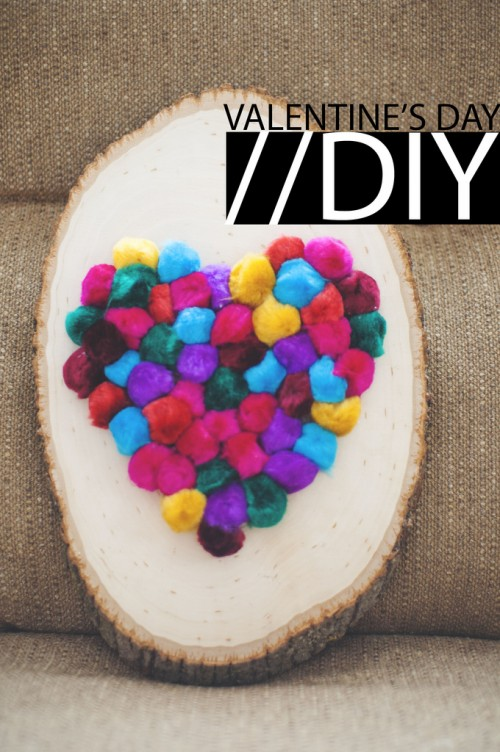 Diy Colorful Pompom Heart For Valentines Day
