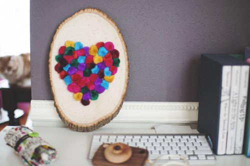 DIY Colorful Pompom Heart For Valetine's Day