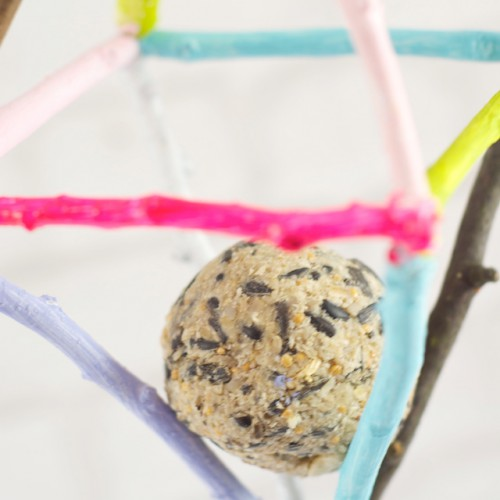 DIY Colorful Rustic Bird Feeders From Branches