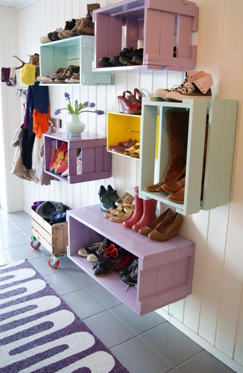 Diy Colorful Shoe Wall Storage