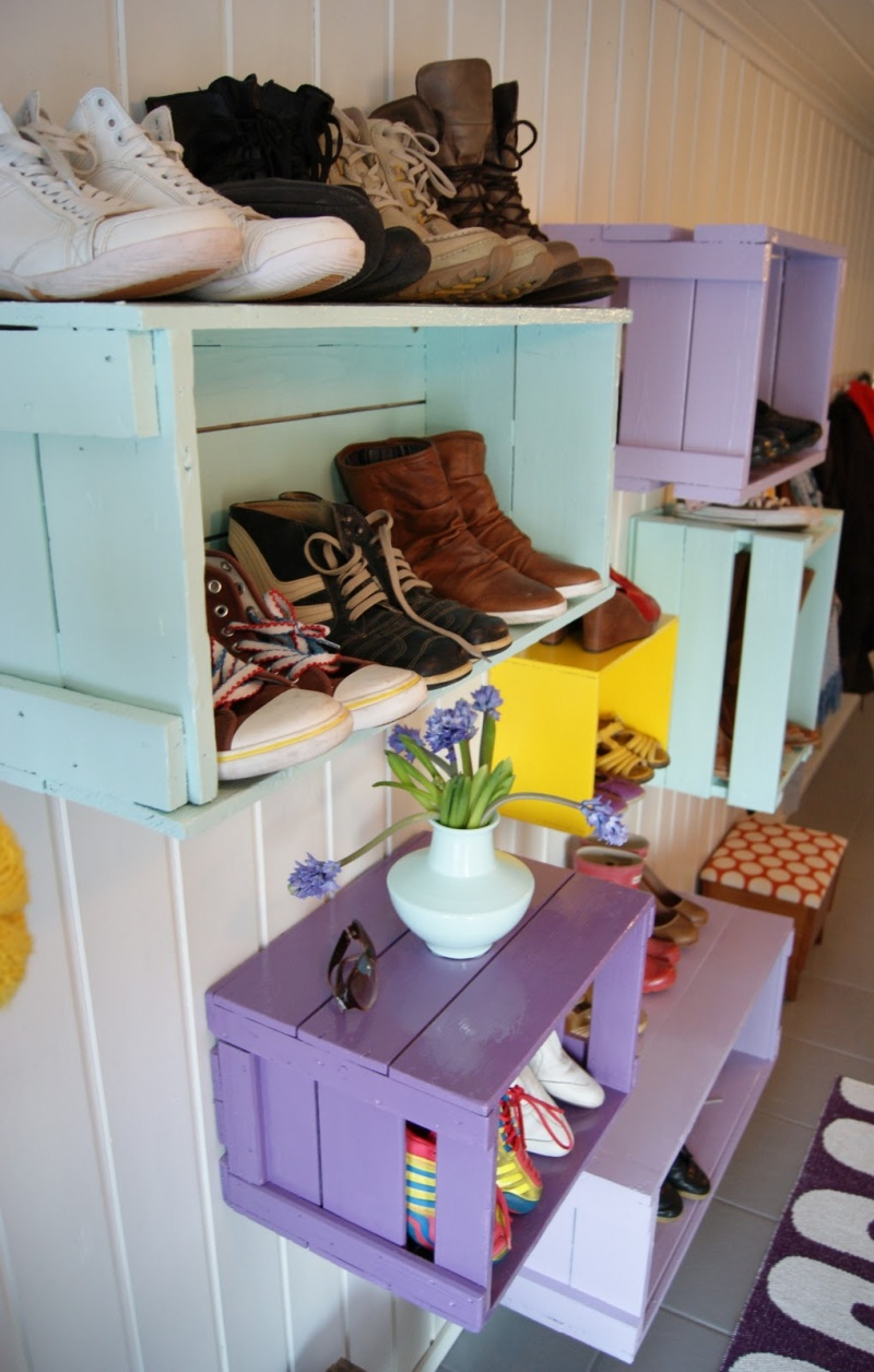 Diy colorful shoe wall storage 3