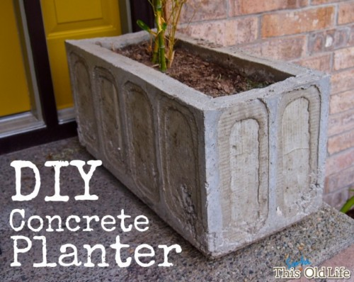 vintage-inspired concrete planter (via thissortaoldlife)