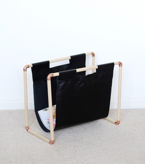 DIY Copper And Pine Magazine Rack