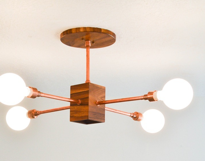 DIY Copper And Wood Hanging Light Fixture