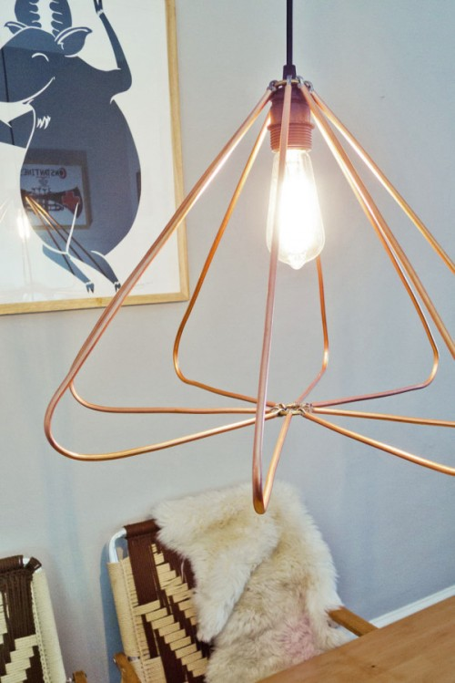 DIY Copper Geometric Pendant Lamp