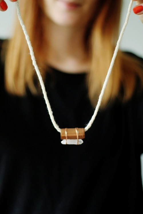 Industrial DIY Copper Pipe And Quartz Necklace
