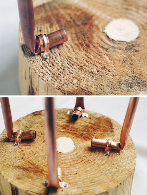DIY Copper Pipe And Wood Slice Side Table Shelterness