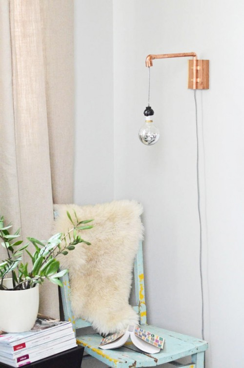 copper pipe wall sconce (via camillestyles)