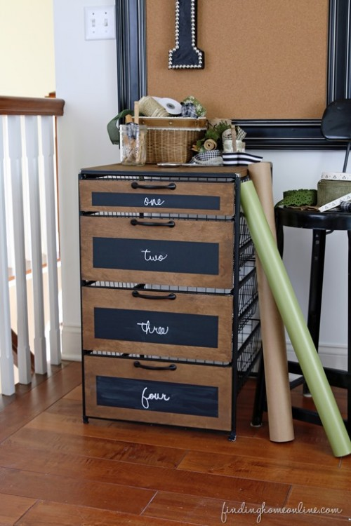 craft room chalkboard storage cabinet (via findinghomeonline)