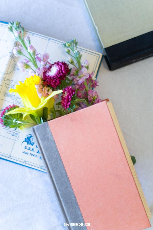 floral book arrangement