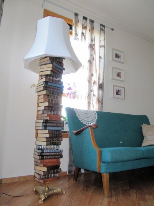 lamp base from old books (via shelterness)