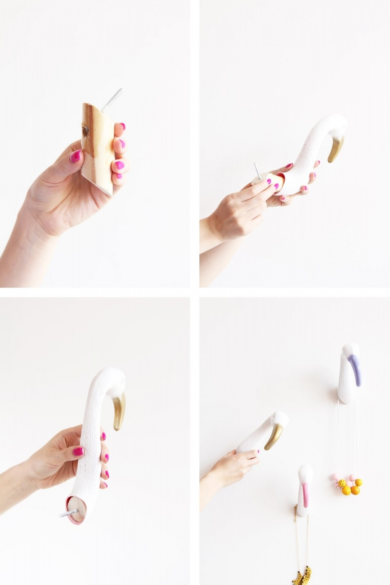 Picture Of diy creative and fun flamingo wall hooks  5