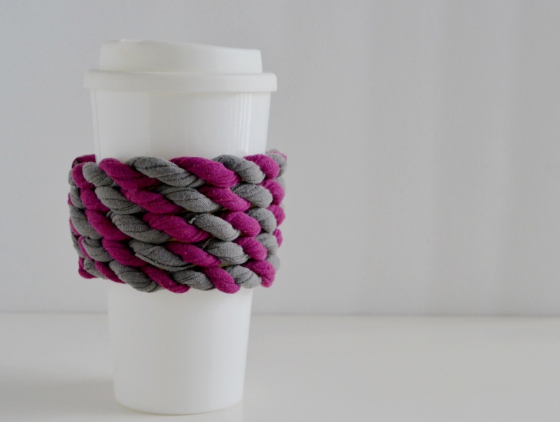 Easy DIY Cup Cozy Of An Old Tee