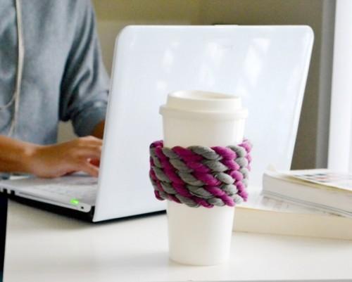 Diy Cup Cozy Of An Old Tee